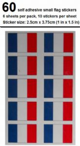 France Country Flag Stickers (pack of 60).